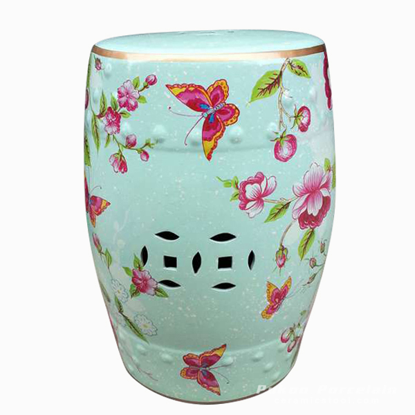 Outdoor cushions Ceramic floral butterfly Stool