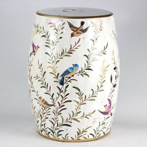 RYZS03_Bird branch pattern ceramic drum stool