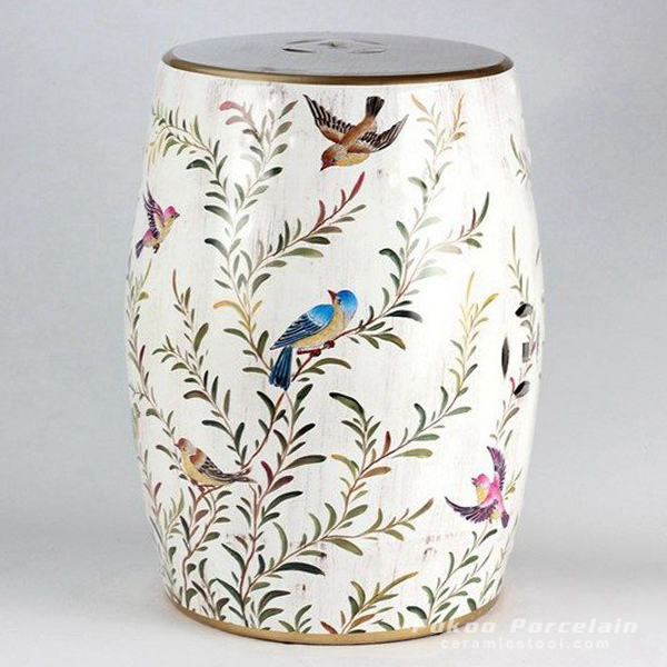 Bird branch pattern ceramic drum stool