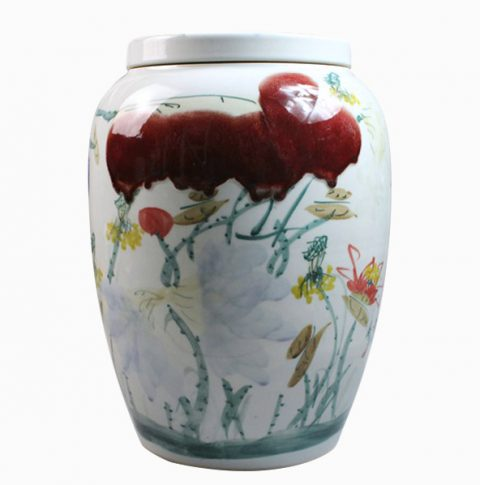 RYZX02_Hand painted waterlily Ceramic Jar
