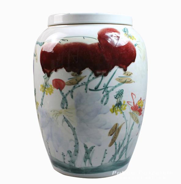 Hand painted waterlily Ceramic Jar
