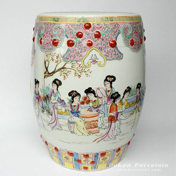 Jingdezhen hand painted Famille rose lady playing floral design Porcelain Garden Stool