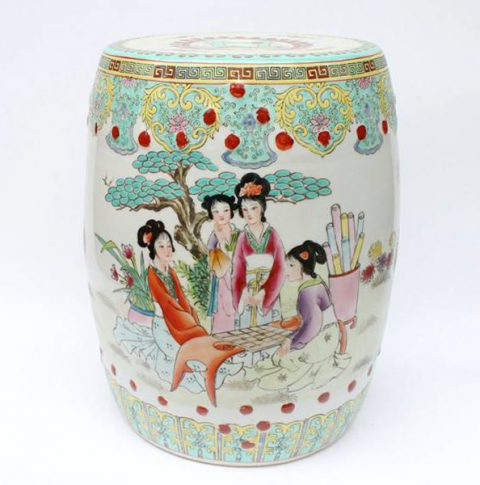 RZAE01_NICE 19th C CHINESE PORCELAIN GARDEN SEAT STOOL LADY TREE FLORAL