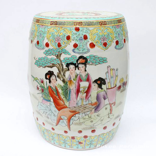 NICE 19th C CHINESE PORCELAIN GARDEN SEAT STOOL LADY TREE FLORAL