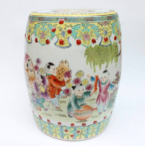 RZAE02_FAMELLE ROSE HAND PAINTED CHINESE CHILDREN FLORAL PORCELAIN GARDEN SEAT STOOL