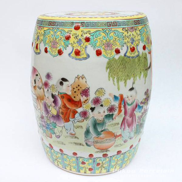 FAMELLE ROSE HAND PAINTED CHINESE CHILDREN FLORAL PORCELAIN GARDEN SEAT STOOL