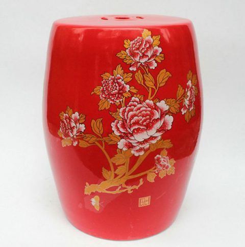 RZAF01_Chinese Red floral Garden Stool