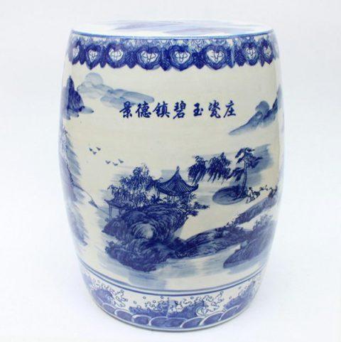 RZAG01_Blue and White Ceramic Stool mountain tree river