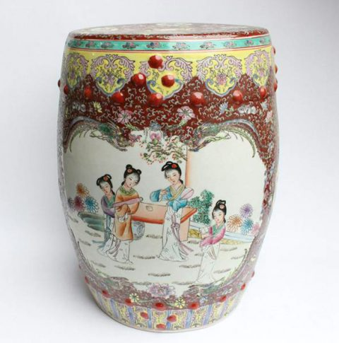 RZAH02_FAMILLE ROSE CHINESE PORCELAIN GARDEN SEAT STOOL PAINTED LADY PHOENIX FLORAL