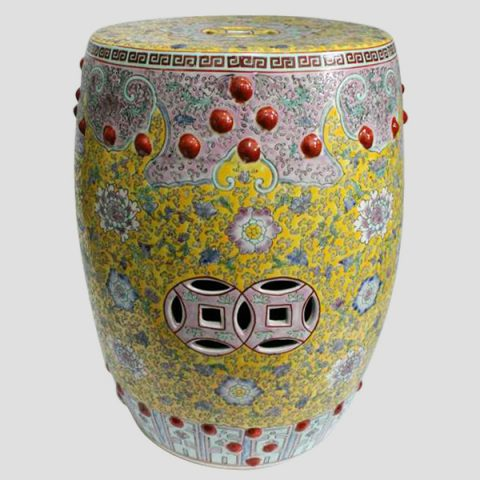 RZAI04_Hand painted famille rose Porcelain Garden Stool, yellow pink floral