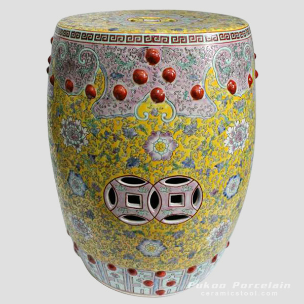 Hand painted famille rose Porcelain Garden Stool, yellow pink floral