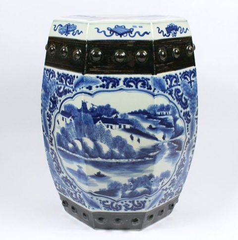 RZAJ01_Blue and White Ceramic Garden Stool, hand painted village, floral, boat