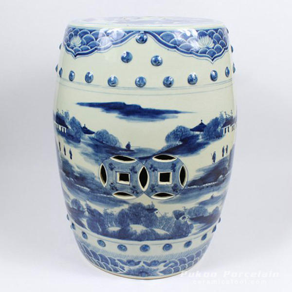 Blue and White Ceramic Stool, hand painted tree, village, fishing