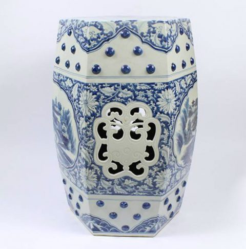 RZAJ03_Blue and White Ceramic Garden Stool, hand painted floral landscape