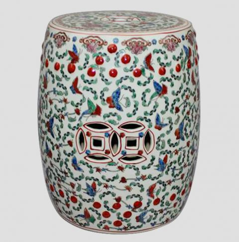 RZCX04_Famille rose white floral butterfly Chinese garden stool