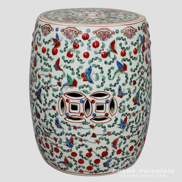 Famille rose white floral butterfly Chinese garden stool