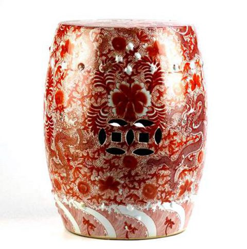 RZIS01_red famille rose hand paint Chinese dragon pattern ceramic patio stool