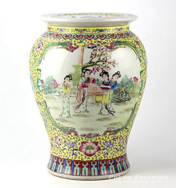 Chinese ancient lady pattern hand paint famille rose ceramic preserve jar