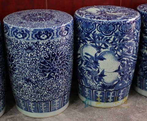 RYOM10_High quality garden decorative blue and white stool