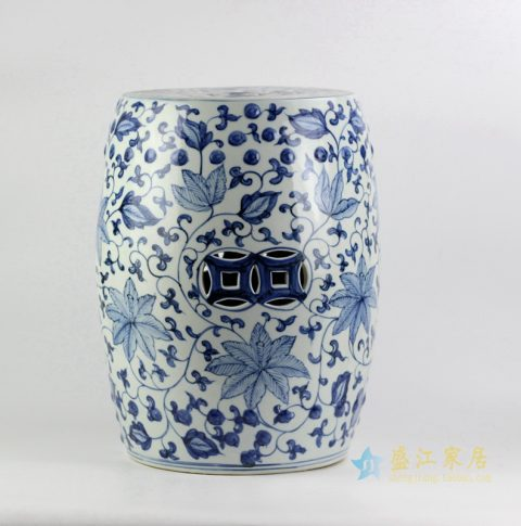 RYNQ192_Handicraft blue and white ceramic floral pattern drum stool