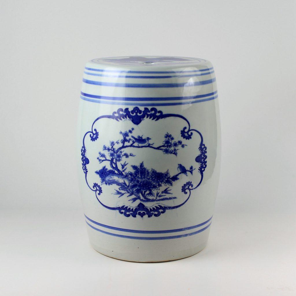 RYAZ342_Chinese blue white ceramic garden stool