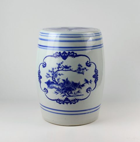 RYAZ342_Chinese blue white ceramic garden stool
