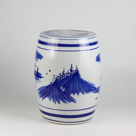 RYAZ343_Chinese hand paintde blue and white ceramic garden stool