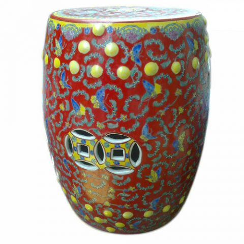 RYIR101_Hand painted Famille rose red porcelain stool table outdoor