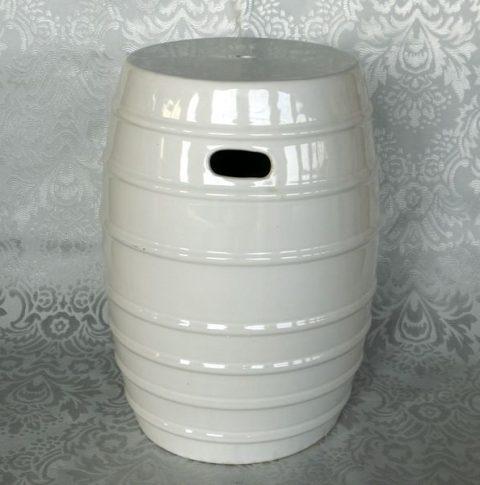 RYKB109_17inch White Ceramic Garden Stool