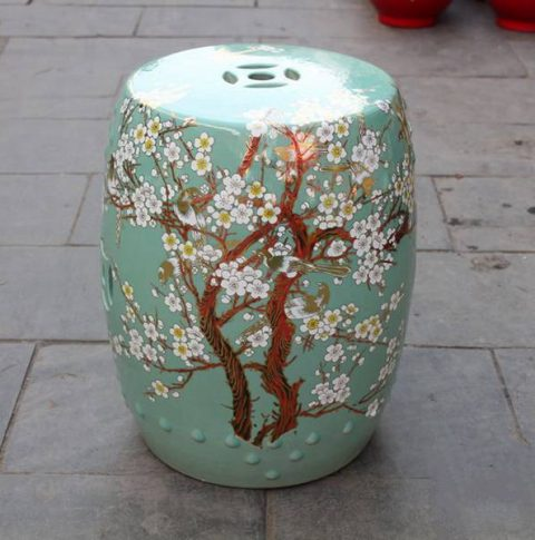 RYKB116-A _Chinese ceramic garden outdoor stool solid color with flower