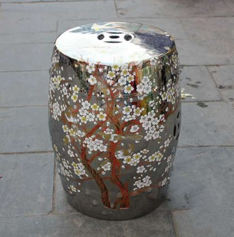 RYKB116-B_Chinese ceramic garden outdoor stool solid color with flower