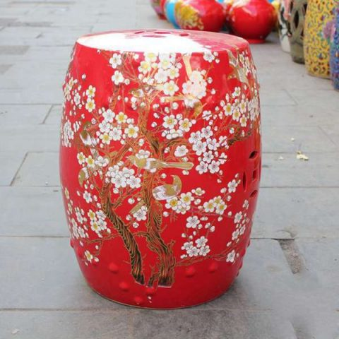 RYKB116-D_Chinese red ceramic garden outdoor stool with floral design