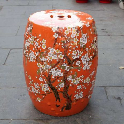 RYKB116-E_Chinese ceramic red garden outdoor stool with floral design