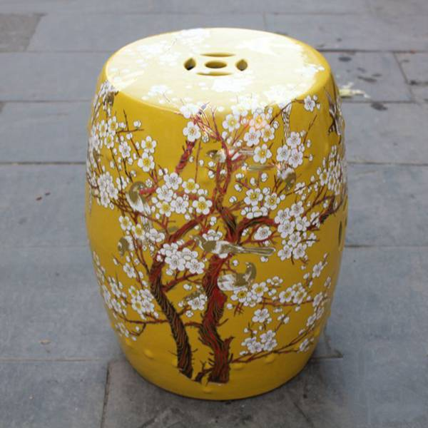 RYKB116-F_Chinese ceramic red garden outdoor stool with floral design