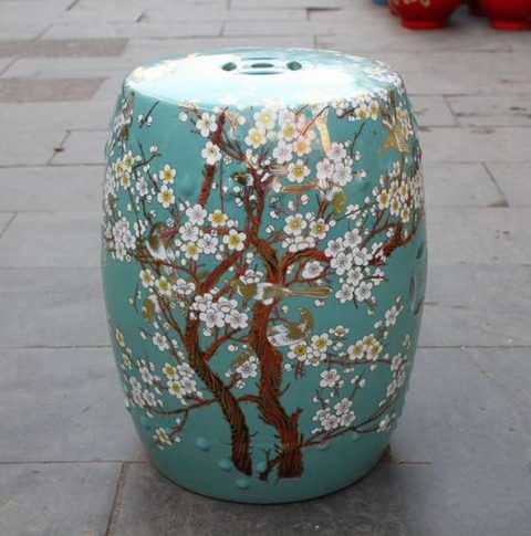 RYKB116-H_Chinese ceramic red garden outdoor stool with floral design