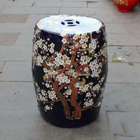 RYKB116-I_Chinese ceramic red garden outdoor stool with floral design