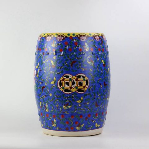 RYKB141-A_Peony butterfly pattern royal ceramic drum stools,Navy Blue garden stool