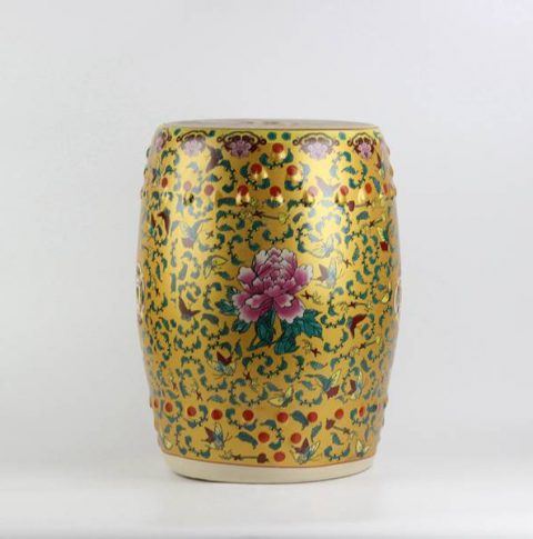 RYKB141-D_Peony butterfly pattern royal ceramic drum stools,yellow garden stool