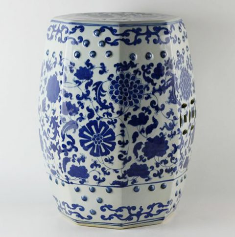 RYLU17_Hand painted garden blue and white oriental stools floral design
