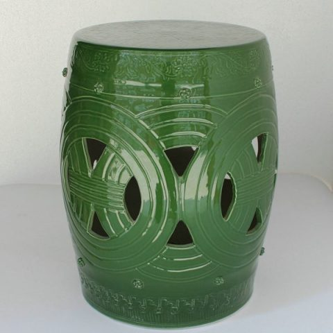 RYNQ155_h16.5″ Asian inspired furniture Porcelain Garden Stool,black,green and gray