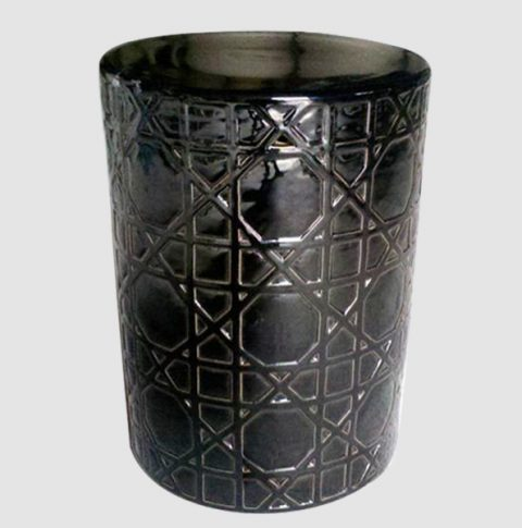 RYNQ58_a_Carved black Ceramic Stool side table