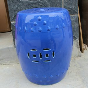 RYNQ78 _Solid blue glazed Pottery Stool