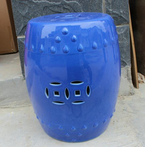 RYNQ78 _Solid blue glazed Pottery Stool