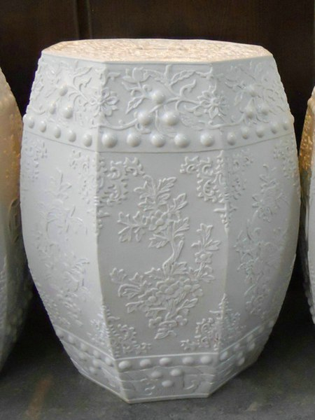 RYOM01_white garden furniture high quality hand carved floral porcelain Stool