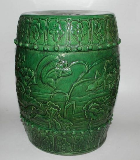 RYZL05_Chinese porcelain stools Green hand carved flower bird