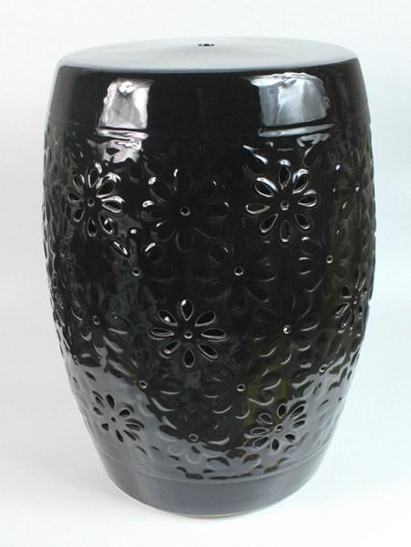 RYZS16_Black Floral carved Ceramic Drum Stool