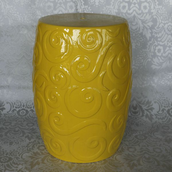 RYZS18_Round Ceramic Yellow Stool