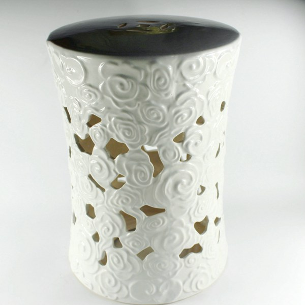 RYZS52_18 inch Hand carve white cloud Garden Stool