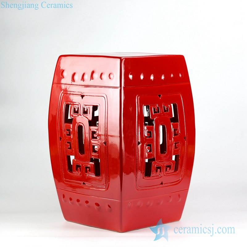 Jubilant China red color  hollowed out  square porcelain sitting stool for patio