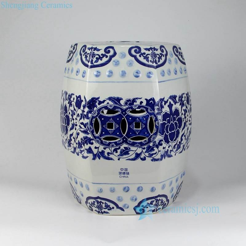 blue and  white 6 sides ornament stool